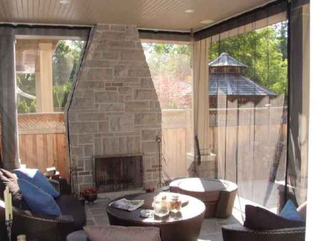 Amazing Same Porch With The Outdoor Fireplace With Curtains Swagged. Screen ...